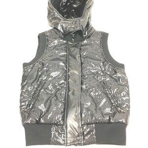 Miss Me Black Sequined Puffer Vest